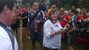 Partner school St John Fisher head teacher, and the Olympic Torch!