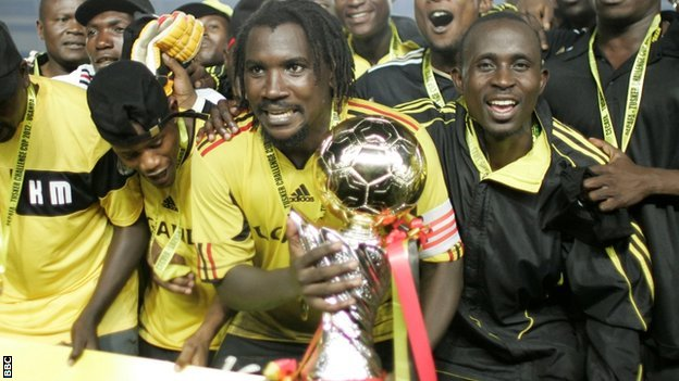 Uganda Cranes with the Cecafa Cup
