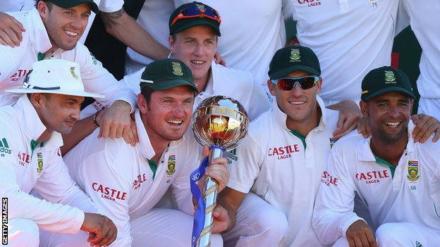 South Africa celebrate after winning the Test series