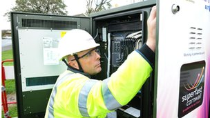 BT Engineer working on a green street cabinet