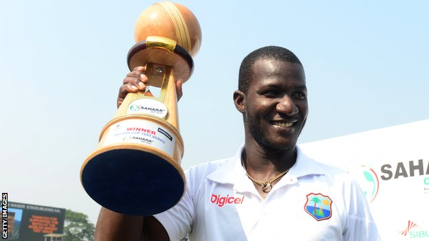 West Indies captain Darren Sammy with the Test series trophy