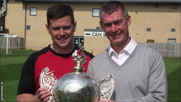 Gateshead boss Anth Smith and Paul Bryson with the Gateshead Senior Cup
