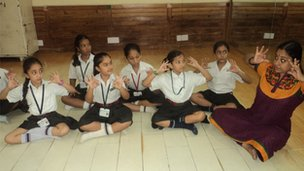 Pupils learn dance steps from Khaitan Public School's dance teacher
