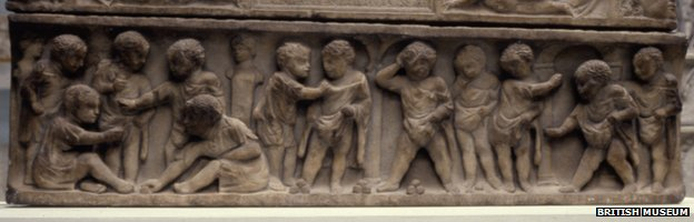 Roman child&#039;s sarcophagus - photo courtesy of the British Museum