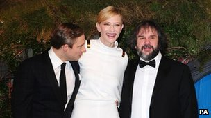 Martin Freeman, Cate Blanchett and Peter Jackson at the London premiere of The Hobbit: An Unexpected Journey