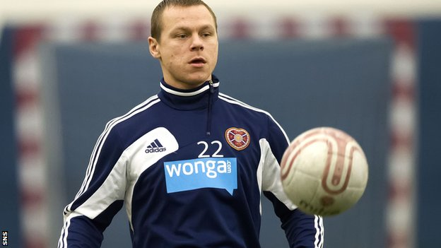 Rimkevicius in training with Hearts