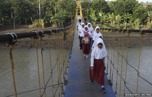 Students cross the new bridge, November 2012
