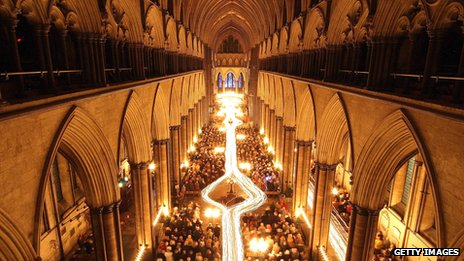 Advent procession in Salisbury Cathedral, Wiltshire