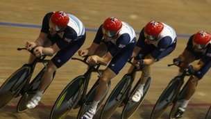 The men's pursuit team training in July