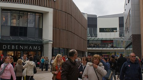 Shoppers in Wrexham