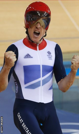 Geraint Thomas celebrates winning Olympic gold in the team pursuit at London 2012
