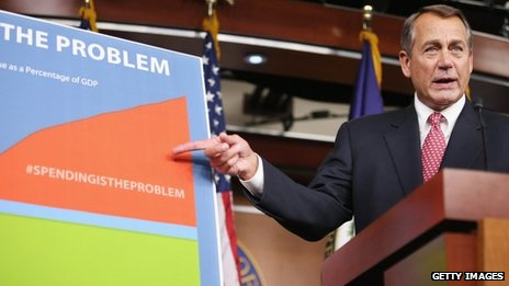 House Speaker John Boehner points to a chart of US spending in Washington DC, 13 December 2012