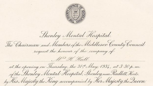 Invitation to the opening of the hospital in 1934. Pic: Mind in Harrow