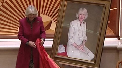 The Duchess of Cornwall at the unveiling of the portrait