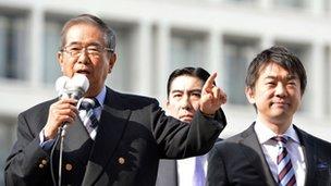 Shintaro Ishihara (L) and Toru Hashimoto (R) campaigning on 29 November 2012