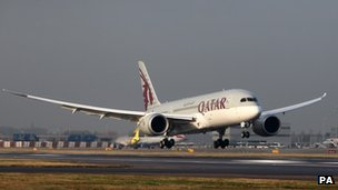 Qatar Airways' Boeing 787 Dreamliner lands at London's Heathrow airport