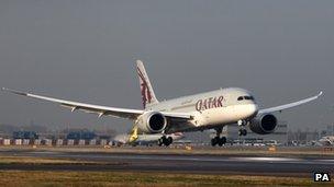 Qatar Airways' Boeing 787 Dreamliner lands at London's Heathrow airport