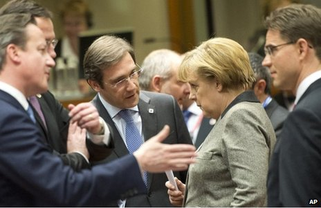 (From left) British Prime Minister David Cameron, Portugal's Prime Minister Pedro Passos Coelho, German Chancellor Angela Merkel and Finland's Prime Minister Jyrki Tapani Katainen chat at the EU summit on Brussels, 13 December