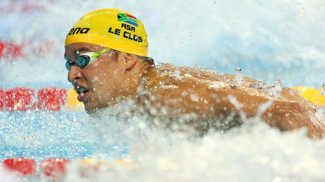 World Short Course Men&#039;s 100m butterfly winner Chad Le Clos
