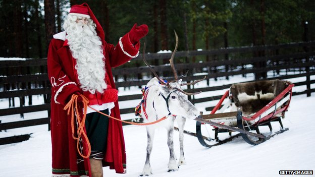 Santa Claus with reindeer