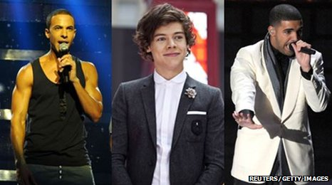 Marvin (JLS), Harry (One Direction) and Drake