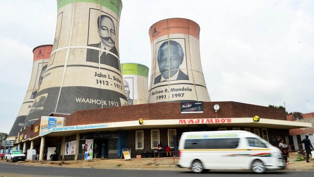 Giant portraits of former African National Congress (ANC) presidents
