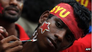JVP supporter in Colombo on 6 December 2012