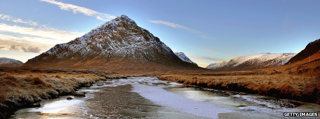 A view of Buachaille Etive Mor in Glen Coe on 12 December 2012 in Rannoch Moor, Scotland.