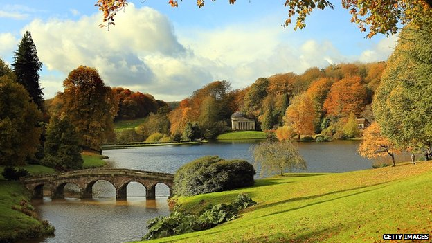 The gardens at Stourhead, the former estate of the Stourton family, now owned by the National Trust, in Wiltshire, England