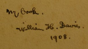 WH Davies signature in a book found in his former Nailsworth home