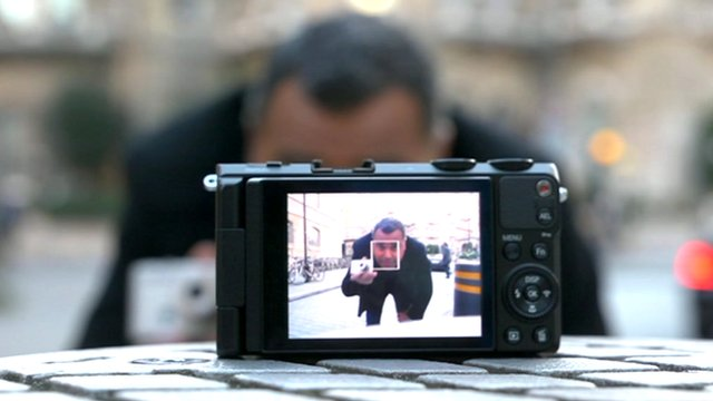 Marc Cieslak in a camera viewfinder