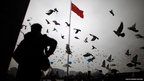 A man stands as pigeons fly during a ceremony marking the 75th anniversary of the start of the Nanjing Massacre