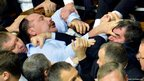 Scuffles in the Ukraine parliament