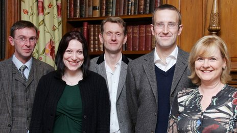 Man Booker judges: (from left) Stuart Kelly, Natalie Haynes, Robert Douglas-Fairhurst, Robert Macfarlane and Martha Kearney