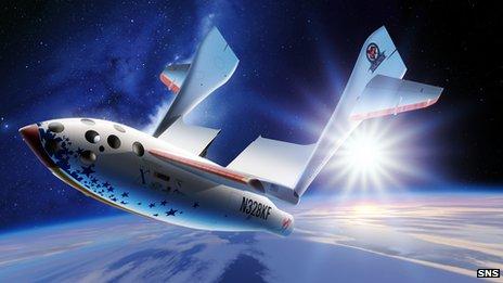 Artwork of a spacecraft taking passengers on a suborbital flight