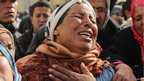 The mother of Tunisian policeman Anis el-Jlassi cries during his funeral in Karma, near Kairouan, Tunisia - Tuesday 11 December 2012