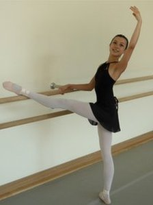 Tala Lee-Turton dancing at the Bolshoi Ballet Academy