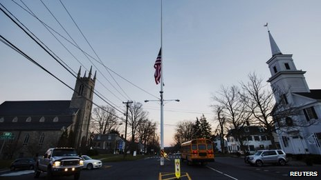 Flag flies at half mast in Newtown, Connecticut