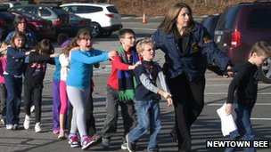 The police lead children away from Sandy Hook Elementary School