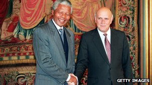Nelson Mandela and FW de Klerk on the eve of their acceptance of the Nobel Peace Prize in 1993