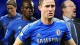 Left to right: Fernando Torres, Victor Moses, Gary Cahill, Rafa Benitez