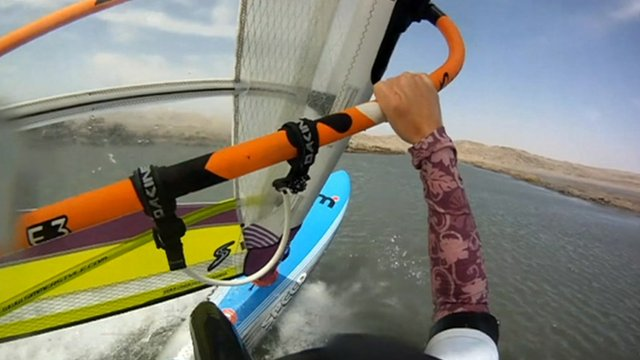 Helmet camera picture of Zara Davis windsurfing