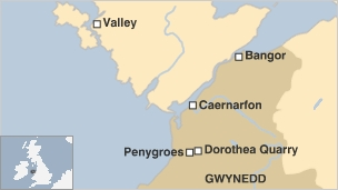 Map showing Dorothea Quarry in Snowdonia
