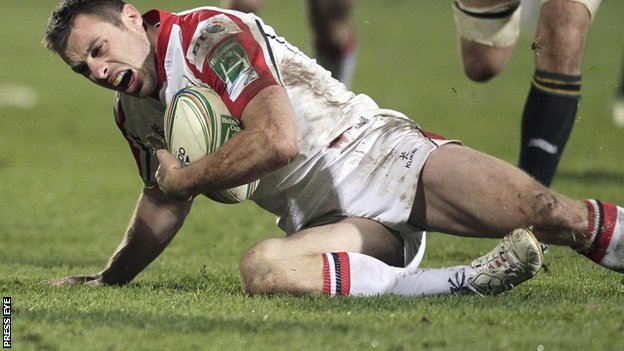 Tommy Bowe fells the pain from the injury