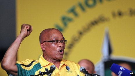 Jacob Zuma addresses delegates at the ANC conference in Manguang