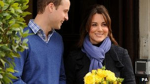 Prince William and Kate leaving hospital following treatment for morning sicknes