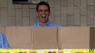 Miranda State Governor Henrique Capriles casts his vote on 16 December 2012