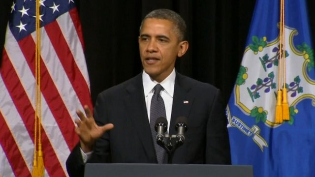 President Barack Obama addresses a vigil in Newtown, Connecticut