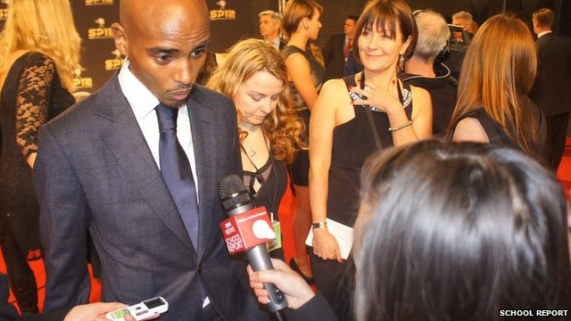 Mo Farah speaks to School Reporters on the SPOTY red carpet