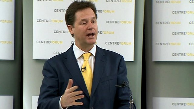 Nick Clegg mid-speech